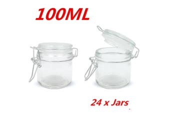 24 x 100ml Small Spice Glass Jars Clip Lid Bottle Jam Storage Container Jar Clip Lock