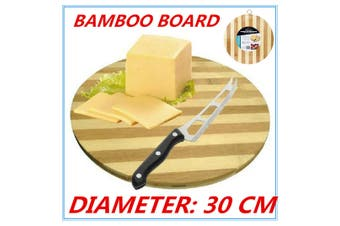Bamboo Round Cheese Chopping Cutting Board Bread Antipasti kitchen w/h Hook fd