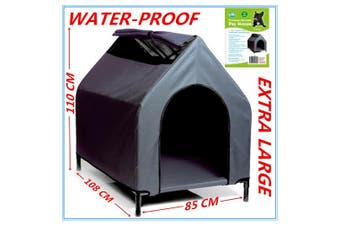 Waterproof Pet House Portable XL 110X108X85CM Dog Bed Kennel Elevated Flea D