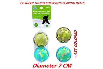 2 x Heavy Duty Tough Pet Dog Puppy Bite Chew Toy Ball Dental Clean Teeth Fetch