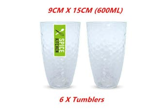 6 x Plastic Ripple Style Tumbler 600ML Clear Cup Drink Glasses Reusable Beer Juice