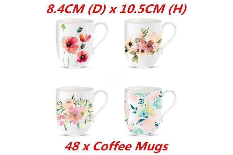 Coffee Mug Water Color Flower Ceramic Mugs Drinking Tea Cup New Bone 4452
