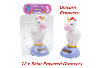 12 x NOVELTY SOLAR POWERED HEAD BOBBING UNICORN GROOVERS DASHBOARD TOY HOME CAR