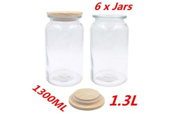 6 x 1300ml Glass Canister Jar 1.3L w Wooden Sealed Lid Airtight Jars Storage Kitchen
