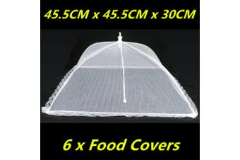 6 x Large Collapsible Mesh Food Covers Dome Pop Up Plate Umbrella Fly Wasp Net