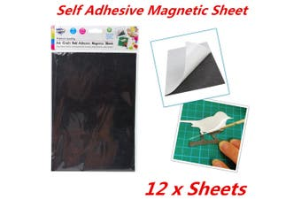 12 x A4 Magnetic Magnet Sheets Self Adhesive Thickness Craft Sheet Material Kids