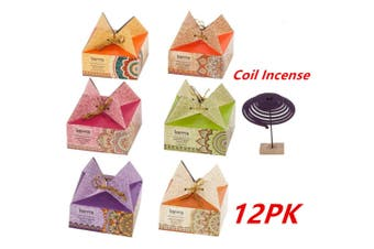 12 x Incense Coils Fragrances Coil Incense Sets (6 Assorted Flavors) Home Gift