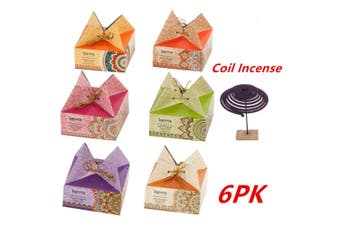 6 x Incense Coils Fragrances Coil Incense Sets (6 Assorted Flavors) Home Gift