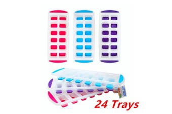 24PK Silicone Ice Cube Trays Tray Frozen Cubes Small Ice Maker Mold Square Shape