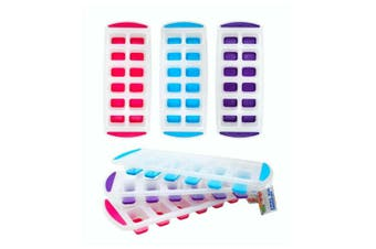 3pk Ice Cube Tray Rectangle Silicone Bottom Ice Mold Maker Plastic 3 Colours