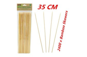 2400 x 35CM Bamboo Skewers Wooden Skewer BBQ Kebab Meat Bulk Cheap Stick Party Catering