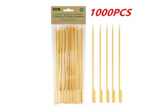 1000 x 25CM Bamboo Paddle Skewers Wooden Skewer BBQ Kebab Meat Bulk Stick Catering