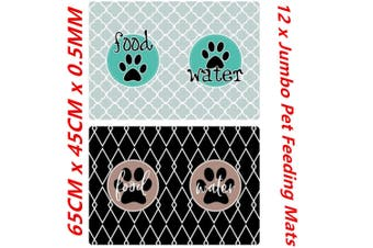 12 x Jumbo Large Pet Feeding Food Mat for Dog Cat Placemat Dish Bowl Easy Wipe Clean