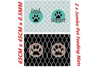 2 x Jumbo Large Pet Feeding Food Mat for Dog Cat Placemat Dish Bowl Easy Wipe Clean