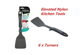 6 x Elevated Nylon Black Turner Heat Resistant Food Kitchen Utensil Cooking Tools