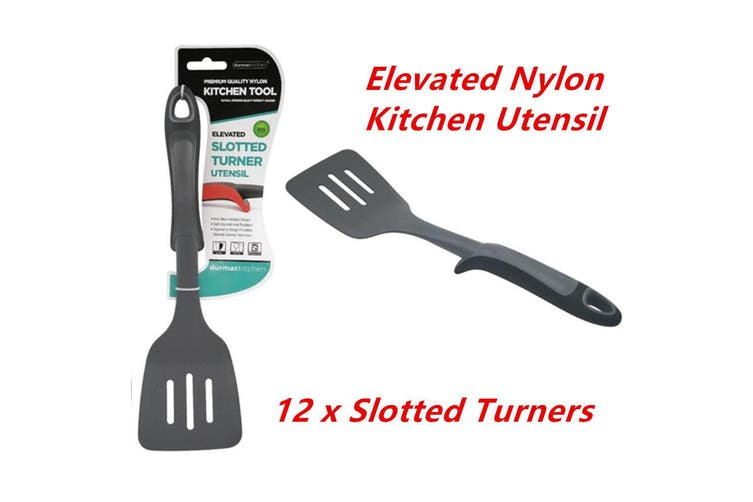 12 x Elevated Nylon Black Slotted Turner Kitchen Cooking Utensil Heat Resistance WMCV