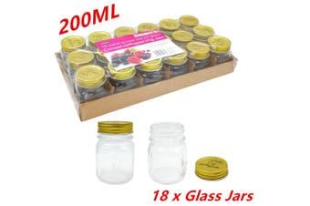18 x Small 200ml Jam Conserve Preserving Jar Dessert Candy Storage Glass Jar Gold Lid