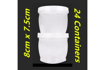 24 x Plastic Small Connector Storage Containers Jars 8cm Clear Craft Box w Lid