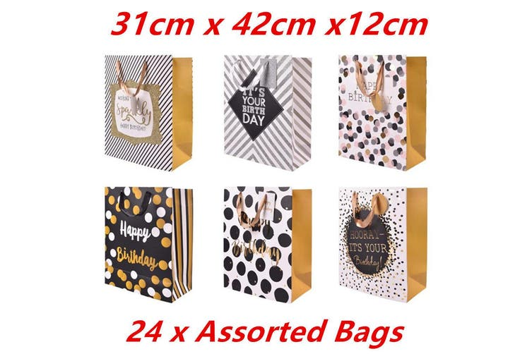 24 x Paper Bags Gift Carrier Bag Handles Happy Birthday Print Party Handbag 4843