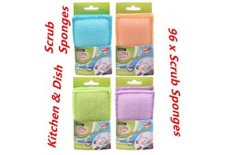 96 x Kitchen Dish Scrub Sponge Sponges Pads Cleaning Colored Sponge Home Bulk Buy