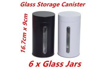 6 x Bulk Storage Glass Canister Jars w Window Aluminium Cover Kitchen Cookie Coffee