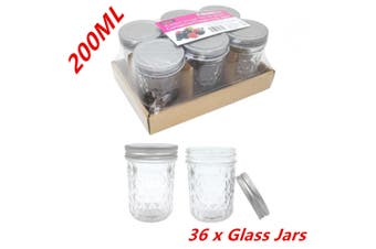 36 x QUILTED JAR 200ML CONSERVE JAM LOLLY CANDLE MAKING GLASS JARS CANDY PARTY