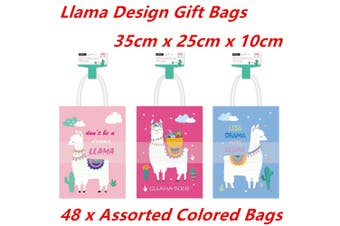 24 x Large 35CM Kraft Craft Llama Design Paper Party Carry Bags Handle Gift Bags