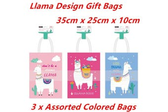 3 x Large 35CM Kraft Craft Llama Design Paper Party Carry Bags Handle Gift Bags