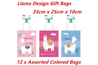 6 x Large 35CM Kraft Craft Llama Design Paper Party Carry Bags Handle Gift Bags