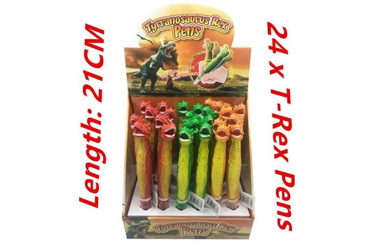 24 x Novelty Tyrannosaurus Rex Pens Dinosaur Boy Pen School Office T-Rex