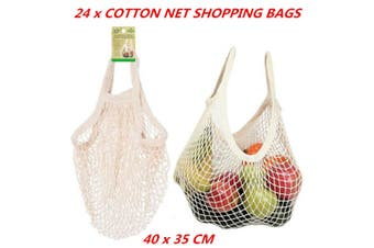 24 x Mesh Net String Shopping Bags Cotton Eco Fold-able Tote Reusable Grocery
