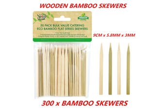 300 x BBQ Skewer Bamboo Wood Stick Paddle Grill Party Fruit Food Outdoor Cooking