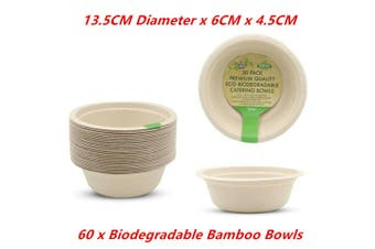60 x ECO Biodegradable Catering Bamboo Plates Bowl Small 13.5x6x4.5CM Disposable