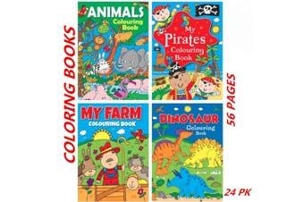 24 x Kindergarten Boy Kids Coloring Books Animals Pirates Farm Dinosaur Drawing
