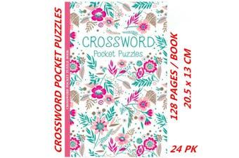 24 x Pocket Crossword Puzzle Books Solve Convenient Fun Game (128 Pages/Book)