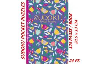 24 x Sudoku Pocket Puzzle Book Floral Foil Mind Activity Travel (128 Pages/Book)