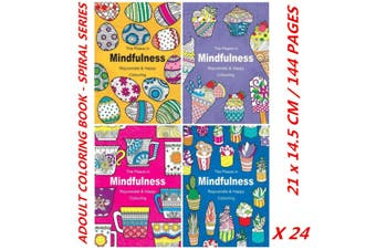 24 x 144 Pages Spiral Coloring Books for Adults Peace In Mindfulness 21x14.5cm