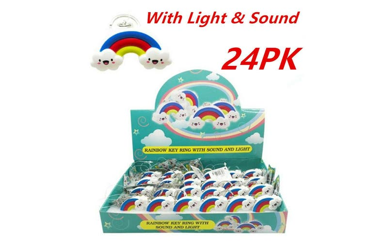 24 x Novelty Rainbow Keyring With Light n Sound Key Ring Batteries Included Gift