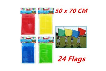 24 x SUPPORTER FLAGS 50x70CM Party Flag Assorted Colors School Carnival Sports