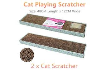 2 x Cat Playing Scratcher Scratching Pad Board Mat Kitten Pet Catnip Activity