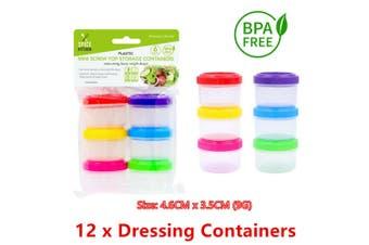 12 x Plastic Dressing Container Sauce Food Salad Fridge Storage Jar Box BPA Free