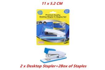 2 x Heavy Duty Desk Top Stapler Set with Bonus 24/6 Staples Refill Office 11CM