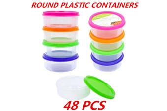 48 x Plastic Round Storage Multipurpose Containers Clear Craft Box Color Lid BPA Free