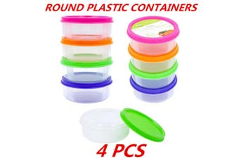 4 x Plastic Round Storage Multipurpose Containers Clear Craft Box Color Lid BPA Free