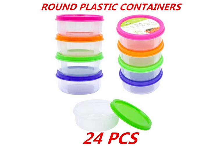 24 x Plastic Round Storage Multipurpose Containers Clear Craft Box Color Lid BPA Free
