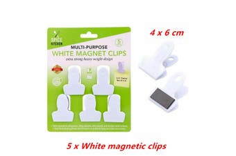 5 x All Purpose White Magnetic Clip Fridge Wall Memo Note Holder Clips Magnet Hook