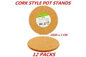 12 x Round Cork Mat Hot Heat Resistant Pot Pan Stand Pad Trivet Placemat Holder 19Dcm