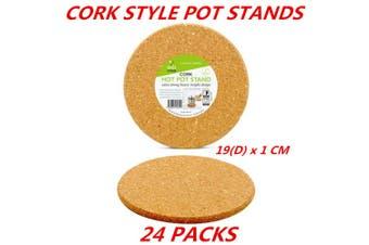 24 x Round Cork Mat Hot Heat Resistant Pot Pan Stand Pad Trivet Placemat Holder 19Dcm