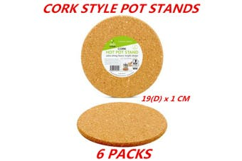 6 x Round Cork Mat Hot Heat Resistant Pot Pan Stand Pad Trivet Placemat Holder 19Dcm