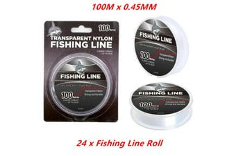 24 x 100M Transparent Fishing Nylon Fish Line Clear Heavy Duty 0.45MM Meter